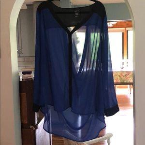 Torrid Blue and Black Drape Back Blouse